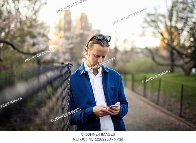Man checking cell phone