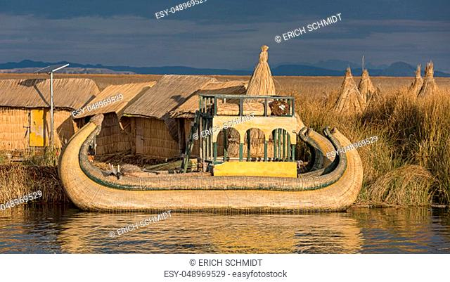 Reed boats, floating islands of the Urus, Lake Titicaca, Puno region, Peru, South America