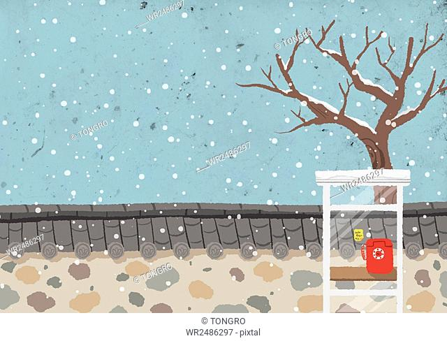 New year 2016 with illustration of a phone booth against wall in the snow