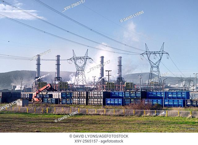 Izmir Power Plant, Aliaga, Turkey. 1532 megawatt combined cycle natural gas fired turbine thermal seawater cooled cooling towers