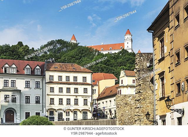View from the Rudnay Street (Rudnayovo namestie) to Bratislava castle. Bratislava castle is located in Bratislava, the capital of Slovakia in Europe
