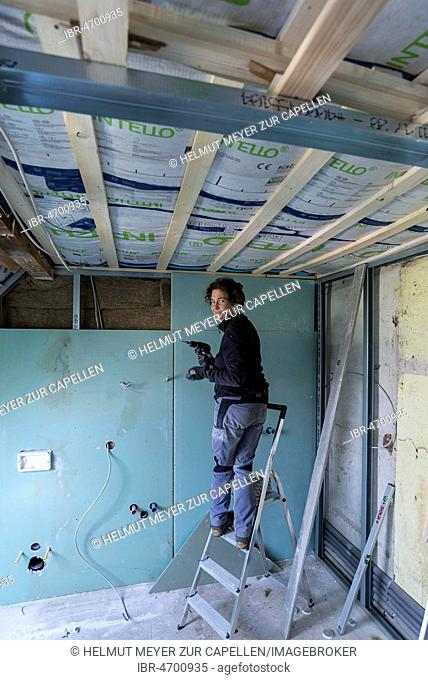Young woman renovating the attic in an old house, Mecklenburg-Western Pomerania, Germany