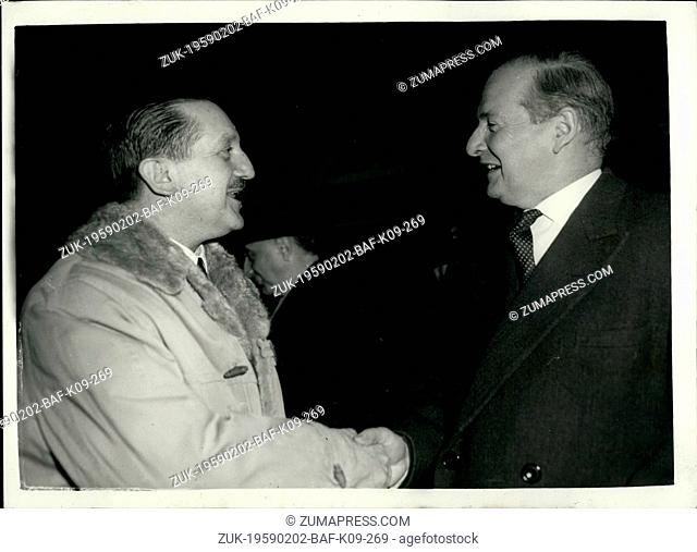 Feb. 02, 1959 - GREEK FOREIGN MINISTER ARRIVES - CYPRUS PLAN REPORTED?. The Greek Foreign Minister Mr. Averoff arrived at London Airport this evening from...
