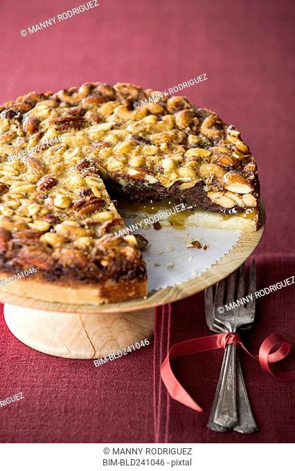 Pie on tray missing slice