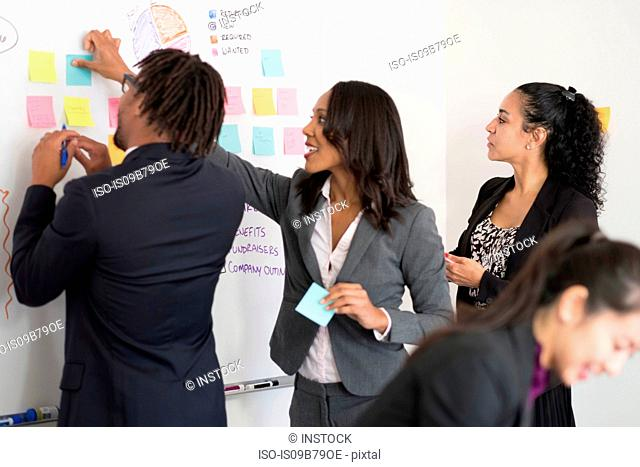 Businessman and businesswomen, in office, brainstorming, sticking notes to whiteboard
