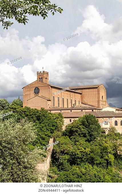 Siena, church San Domenica, brick basilica, Italy