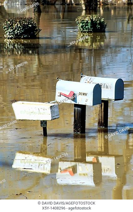 Mailboxes in flood waters