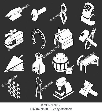 Blacksmith tools icons set white isolated on grey background