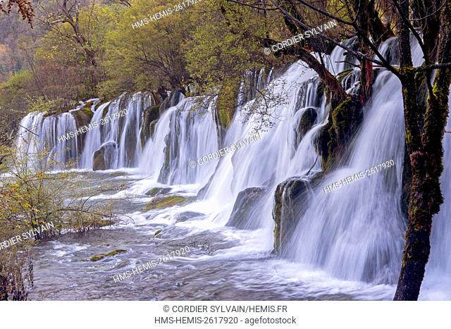 China, Sichuan province, Jiuzhaigou National Park listed as World Heritage by UNESCO, Waterfall, Arrow bamboo lake, Falls