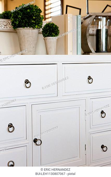 White drawers and cabinet at home; Valencia; California; USA