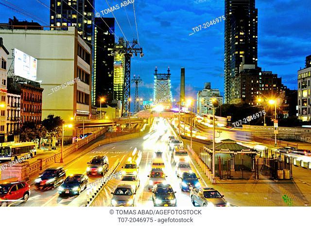 Rush hour traffic on the Ed Koch Queensboro 59th Street Bridge, Midtown - Manhattan, New York City, USA