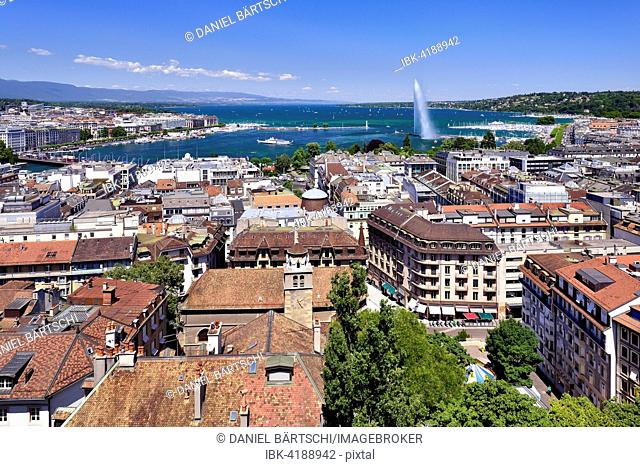 View of the city of Geneva with Lake Geneva and the Jet d'Eau, Canton of Geneva, Switzerland