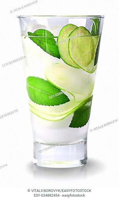 Lime mojito in glass isolated on white background