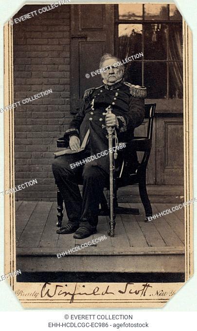 The Civil War. General Winfield Scott, carte de visite signed by Scott, ca. 1860 - 1861. Mathhew Brady Studio
