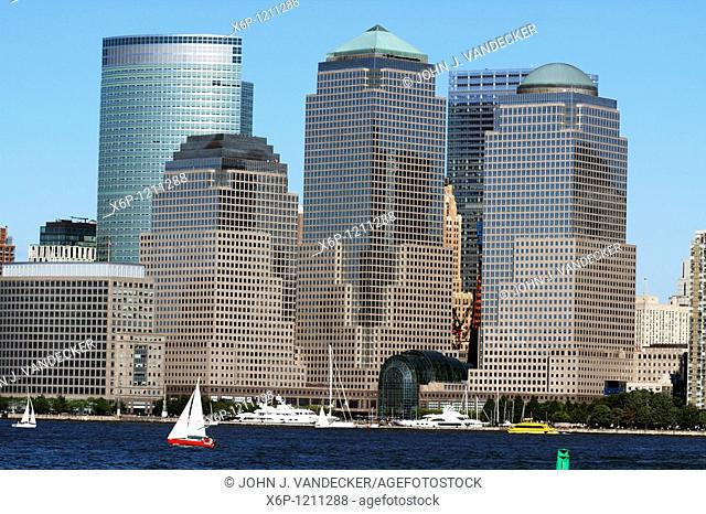 The World Financial Center with the Goldman Sachs building on the left rear  Lower Manhattan, New York City, New York, USA  Viewed from Liberty State Park