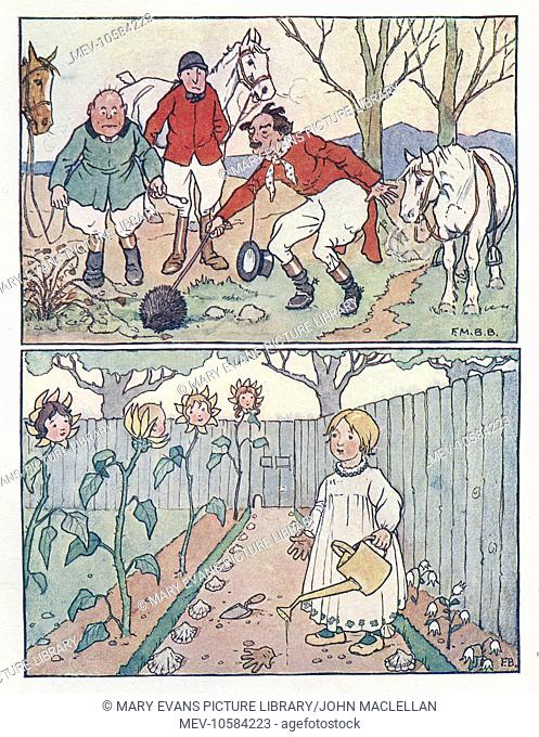 Nursery Rhymes -- two illustrations. Three foxhunters find a hedgehog (above). Mary, Mary, quite contrary, how does your garden grow? (below)