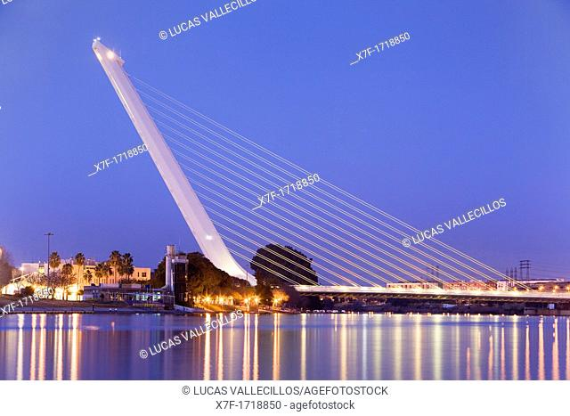 Bridge of the Alamillo in the river Guadalquivir  Seville, Andalusia, Spain