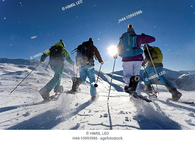 Snow shoe, group, Snow shoe walking, Snow shoe hiking, Innerkrems, Austria, Carinthia, sport, winter