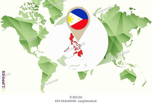 Infographic for Philippines, detailed map of Philippines with flag. Vector Info graphic green map