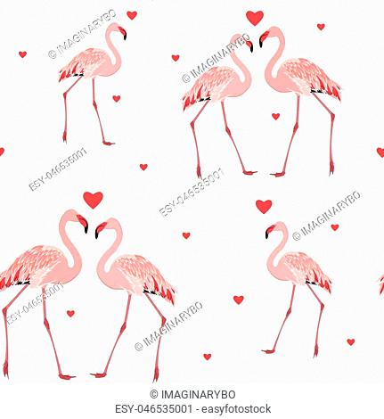 Pink flamingos and red hearts seamless pattern texture on white background. Love passion affection valentine day theme. Vector design illustration