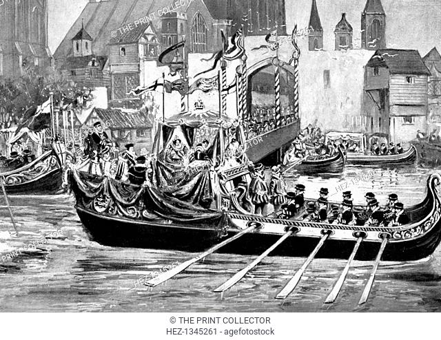 Queen Elizabeth's river coronation procession, London, 1558 (c1905). Print published in Parliament Past and Present by Arnold Wright and Philip Smith, (London