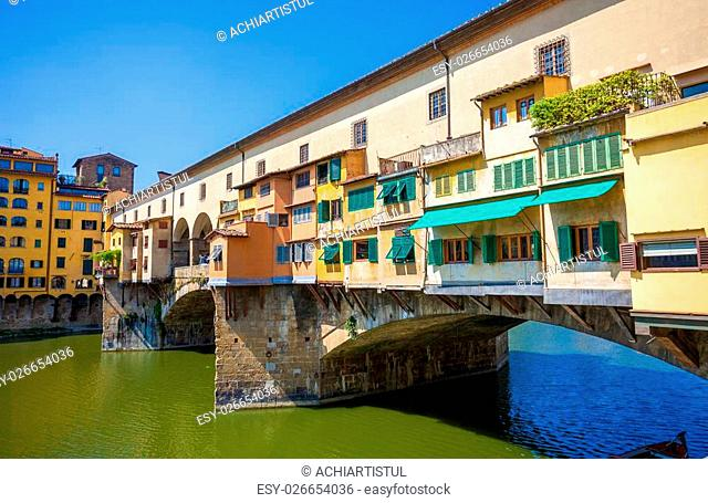 Famous Ponte Vecchio over Arno river in Florence, Italy