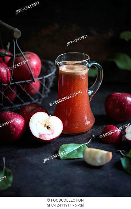 Freshly pressed apple juice made from crimson Cousinot apples