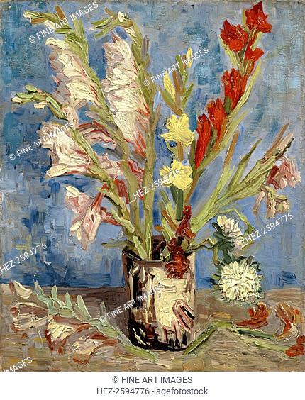 Vase with gladioli and China asters, 1886. Found in the collection of the Van Gogh Museum, Amsterdam