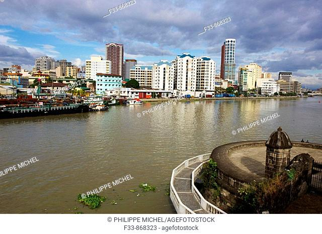 Manila general view from intramuros, Pasig river, Luzon island, Philippines