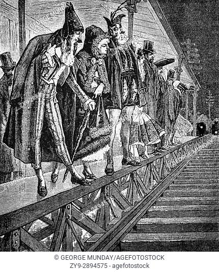 1879: Partygoers on a platform of the Elevated Railway, en route to a Masquarade Ball, New York City, United States of America