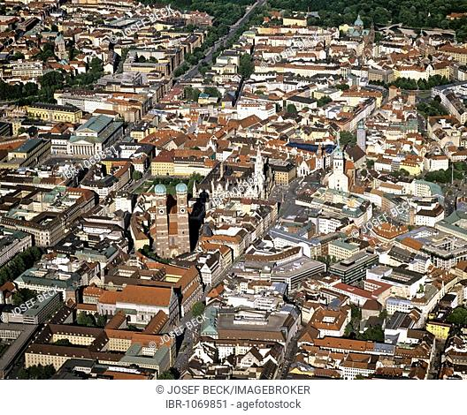 Aerial picture, city centre of Munich, historic centre, Bavarian State Opera, new town hall, Cathedral, Frauenkirche Church, St Peter Church