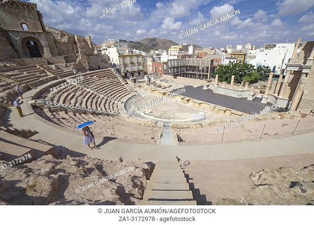 Cartagena, Spain - 2018 Sept 14th: overview of the stage and stands of Roman Theater of Cartagena city in Spain