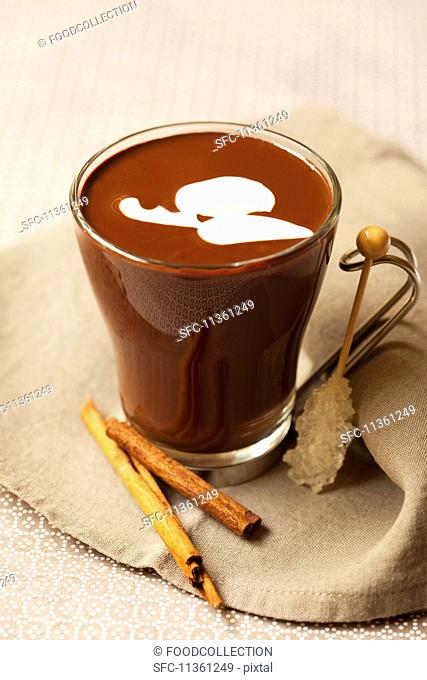 Hot chocolate with cinnamon and a stick of rock sugar
