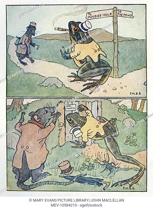 Nursery Rhymes -- A Frog He Would A-Wooing Go. The Frog with Uncle Rat, on the way to Miss Mousie's house