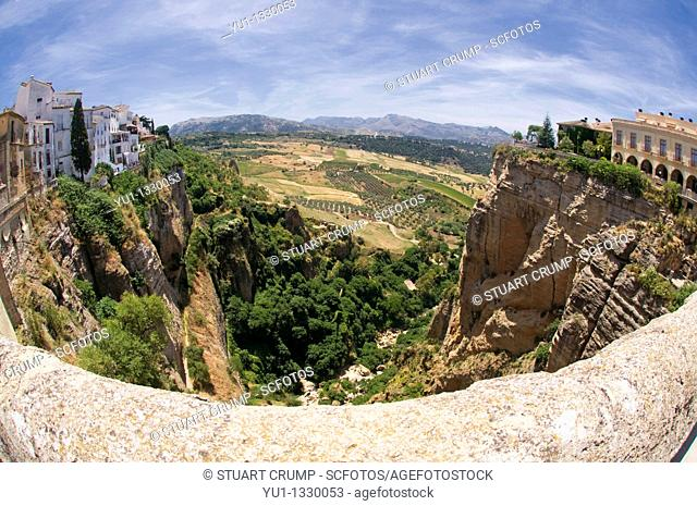 View of the El Tajo gorge from the Puente Nuevo, New Bridge, Ronda, Western part of the Province of Malaga, Andalucía, Spain