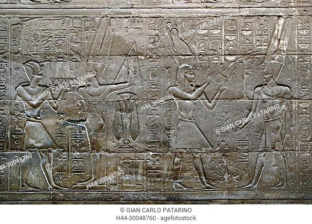 Luxor, Egypt. Temple of Luxor (Ipet resyt): naos of the pharaoh Alexander the Great (356 - 323 b.C.) .Scene with the king adoring gods