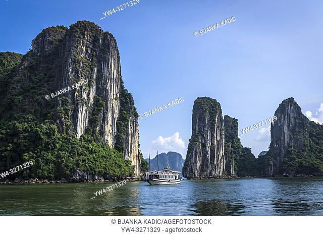 Ha Long Bay, a UNESCO World Heritage Site in Quang Ninh Province, Vietnam