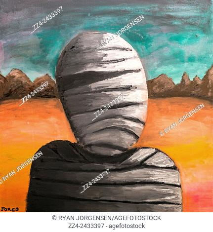 Fine art watercolour painting on canvas of a sad mummy walking the Egyptian desert forever and ever and ever. The curse of eternity