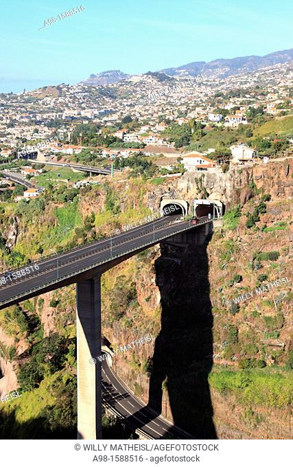 highway bridge above Funchal seen from the Botanical Gardens, Madeira, Portugal