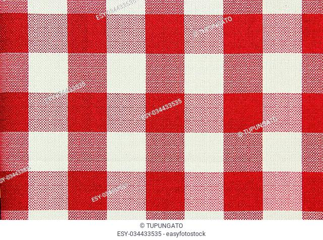 Red and white checkered table cloth background. Textile pattern
