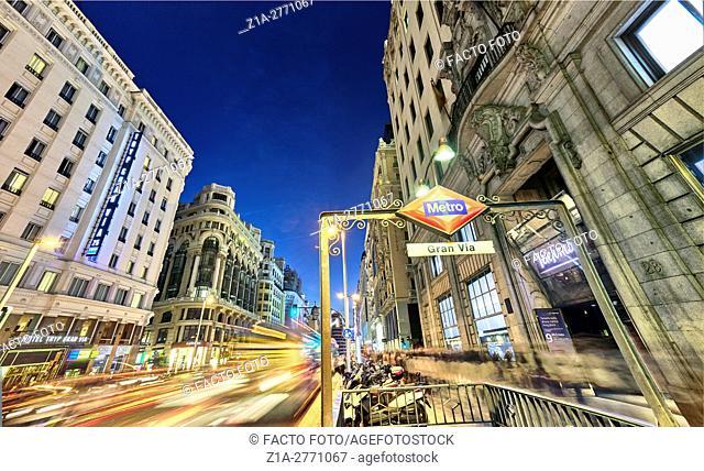 Nightlife at Gran Via street. Madrid, Spain