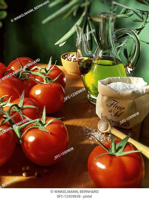 Fresh tomatoes, fleur de sel and olive oil
