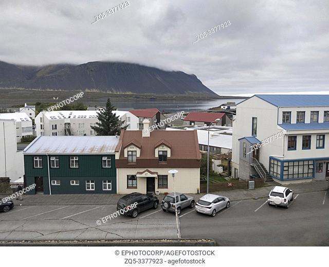 Borgarnes Town, aerial view, Iceland