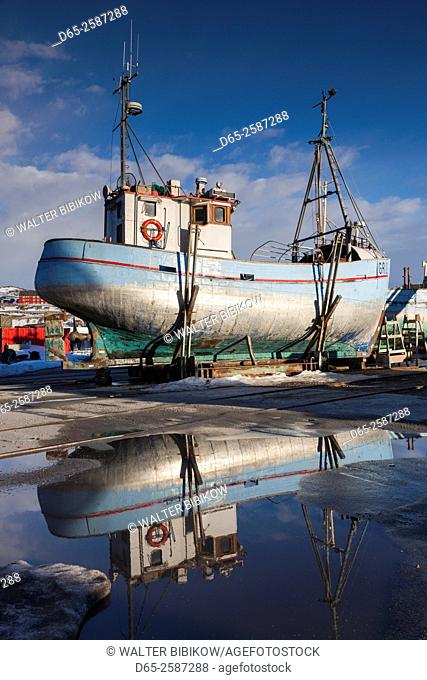 Greenland, Disko Bay, Ilulissat, town harbor, fishing boats in storage
