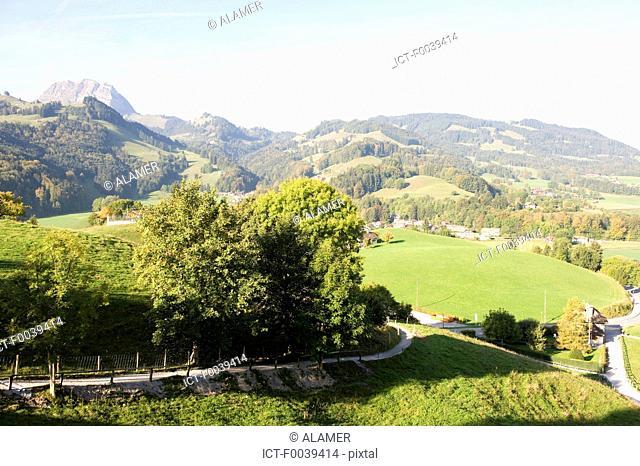 Switzerland, canton of Fribourg, landscape near Gruyeres