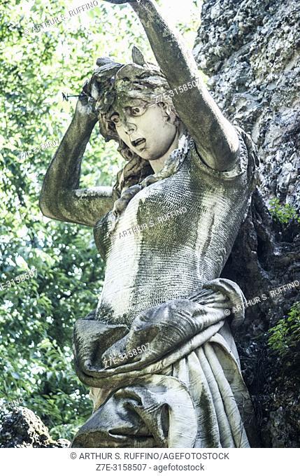 Detail of part of the Garibaldi Monument sculptural group featuring a symbolic statue of a patriotic woman. Bersaglieri Park (Parco dei Bersaglieri)