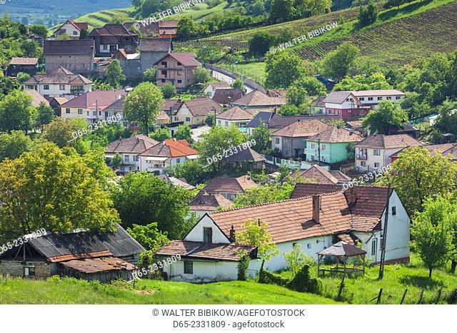 Romania, Transylvania, Medias, elevated town view