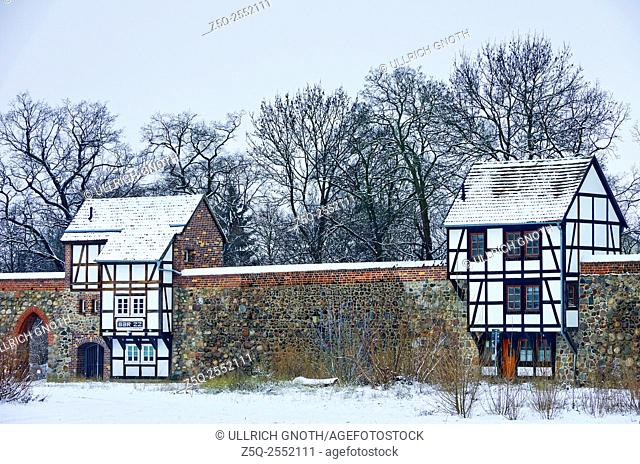 So called Wieckhaus houses, guard houses of the historic town wall of the town of Neubrandenburg, Mecklenburg, Germany
