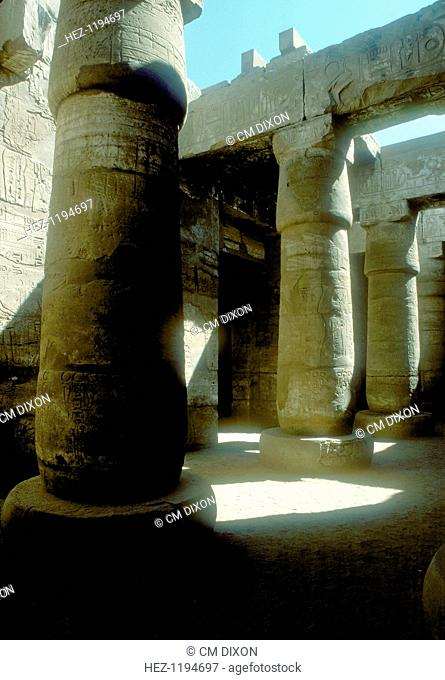 Pillars in the Great Hypostyle Hall built in the 19th Dynasty, Temple of Amun, Karnak, Egypt, 14th-13th century BC