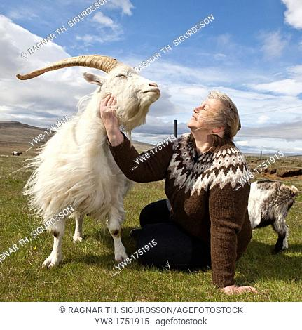 Woman with Goat, Goat Farm, Iceland